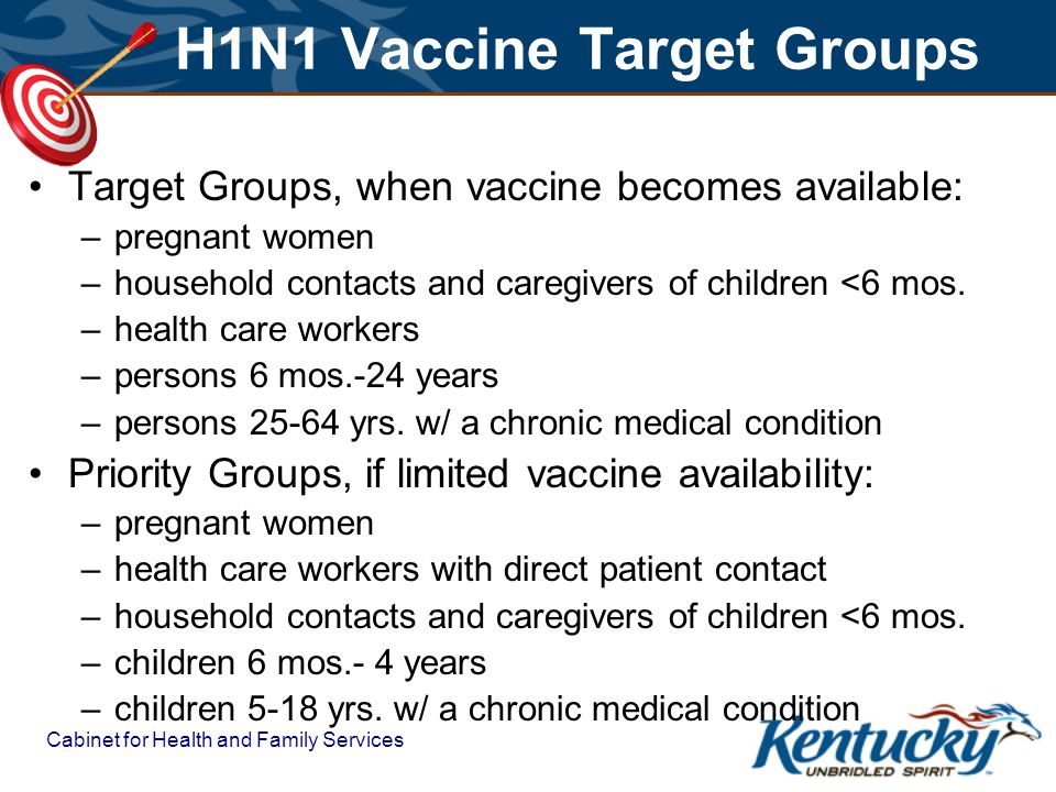Cabinet for Health and Family Services H1N1 Vaccine Target Groups Target Groups, when vaccine becomes available: –pregnant women –household contacts and caregivers of children <6 mos.
