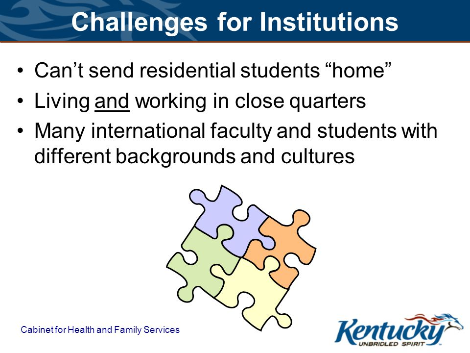 Cabinet for Health and Family Services Challenges for Institutions Cant send residential students home Living and working in close quarters Many inter