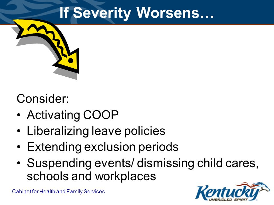 Cabinet for Health and Family Services If Severity Worsens… Consider: Activating COOP Liberalizing leave policies Extending exclusion periods Suspending events/ dismissing child cares, schools and workplaces