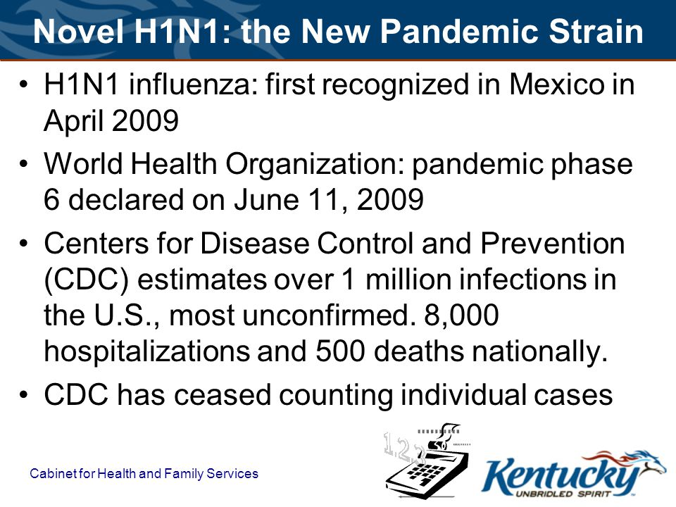 Cabinet for Health and Family Services Novel H1N1: the New Pandemic Strain H1N1 influenza: first recognized in Mexico in April 2009 World Health Organ