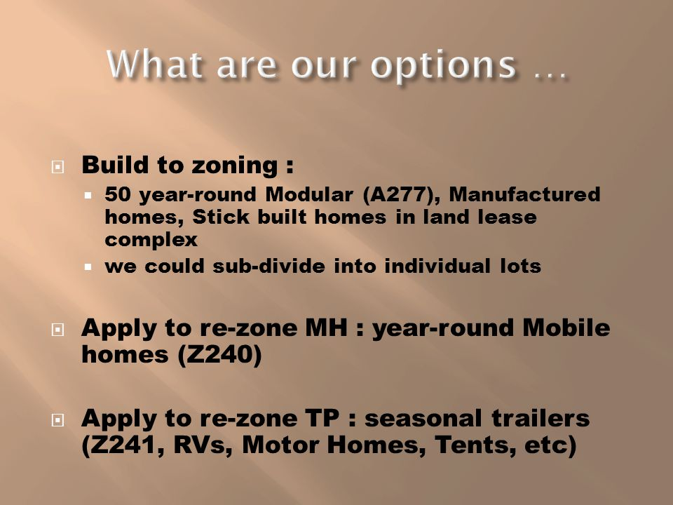 Build to zoning : 50 year-round Modular (A277), Manufactured homes, Stick built homes in land lease complex we could sub-divide into individual lots A