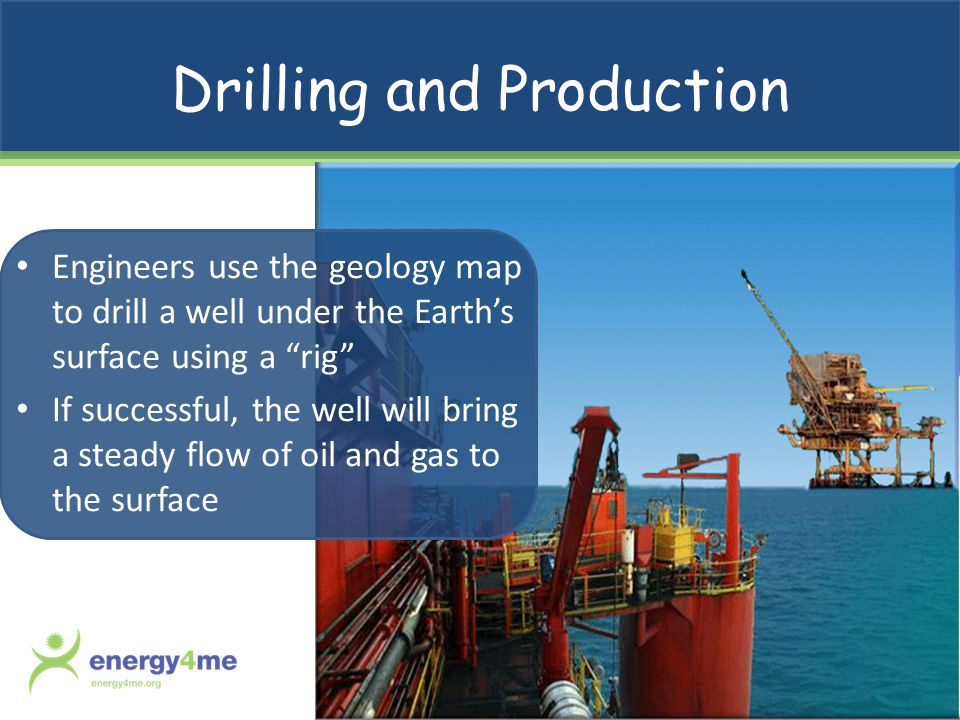 Drilling and Production Engineers use the geology map to drill a well under the Earths surface using a rig If successful, the well will bring a steady flow of oil and gas to the surface