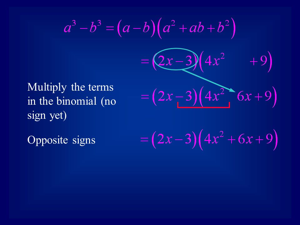 Multiply the terms in the binomial (no sign yet) Opposite signs