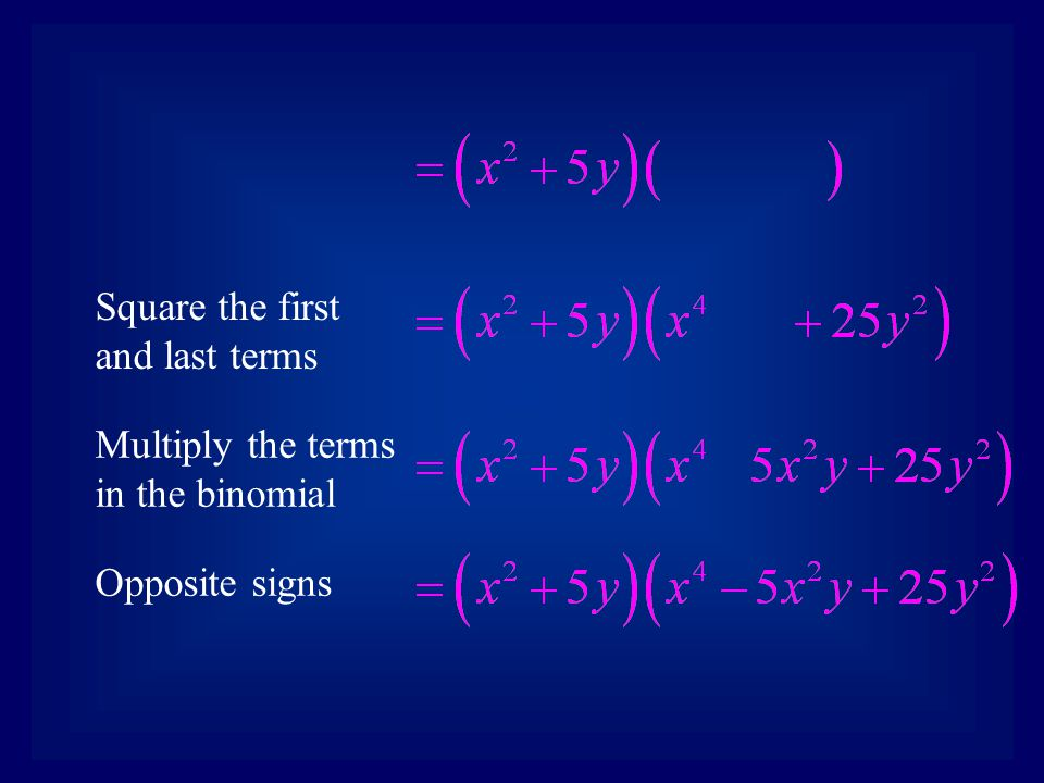 Square the first and last terms Multiply the terms in the binomial Opposite signs