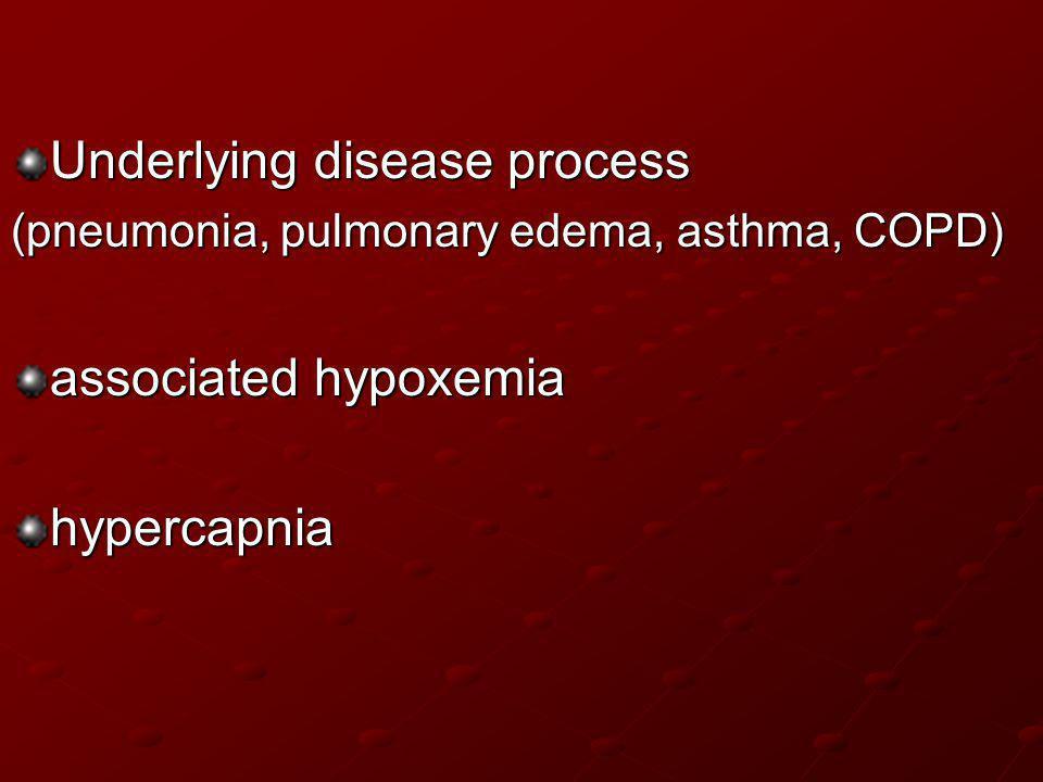 Underlying disease process (pneumonia, pulmonary edema, asthma, COPD) associated hypoxemia hypercapnia