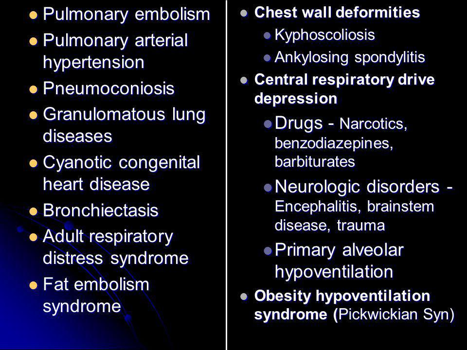 Pulmonary embolism Pulmonary embolism Pulmonary arterial hypertension Pulmonary arterial hypertension Pneumoconiosis Pneumoconiosis Granulomatous lung