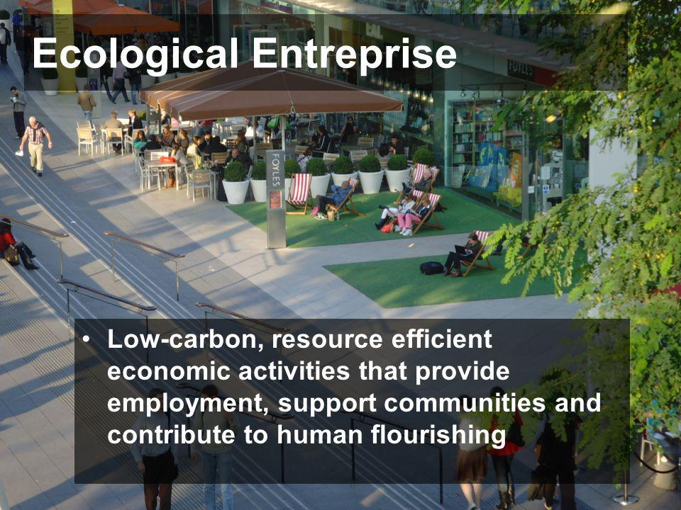 Ecological Entreprise Low-carbon, resource efficient economic activities that provide employment, support communities and contribute to human flourish