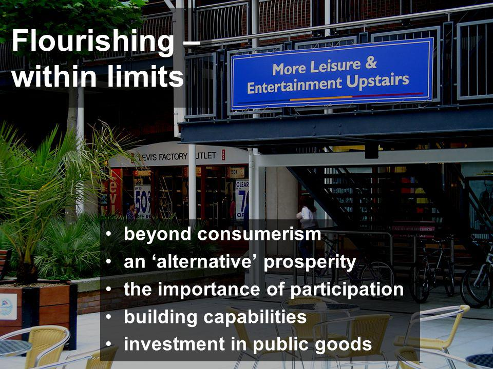 Flourishing – within limits beyond consumerism an alternative prosperity the importance of participation building capabilities investment in public go