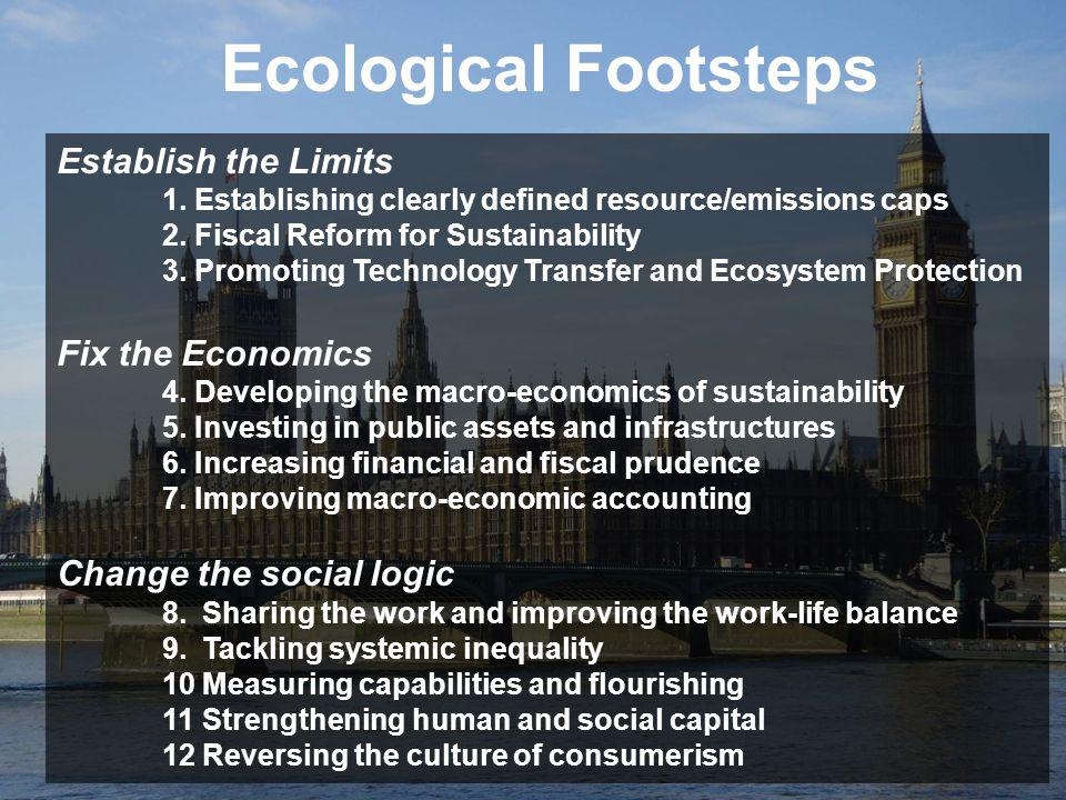 Establish the Limits 1. Establishing clearly defined resource/emissions caps 2. Fiscal Reform for Sustainability 3. Promoting Technology Transfer and