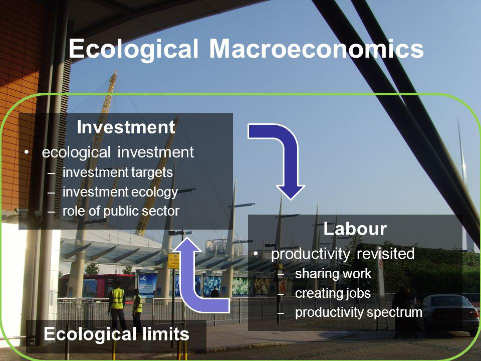 Ecological Macroeconomics Investment ecological investment –investment targets –investment ecology –role of public sector Labour productivity revisited sharing work creating jobs productivity spectrum Ecological limits