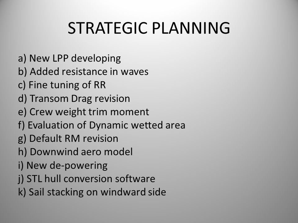 STRATEGIC PLANNING a) New LPP developing b) Added resistance in waves c) Fine tuning of RR d) Transom Drag revision e) Crew weight trim moment f) Eval