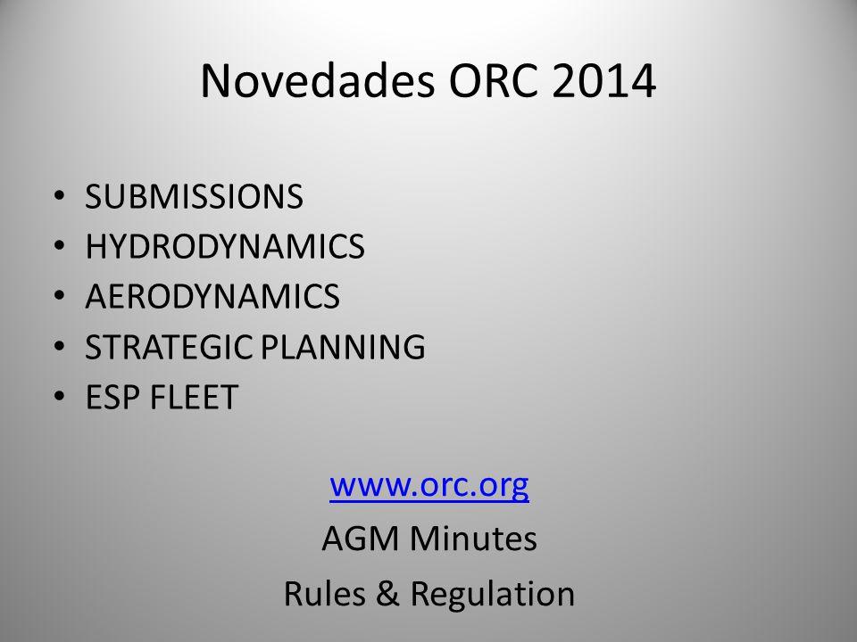 Novedades ORC 2014 SUBMISSIONS HYDRODYNAMICS AERODYNAMICS STRATEGIC PLANNING ESP FLEET www.orc.org AGM Minutes Rules & Regulation