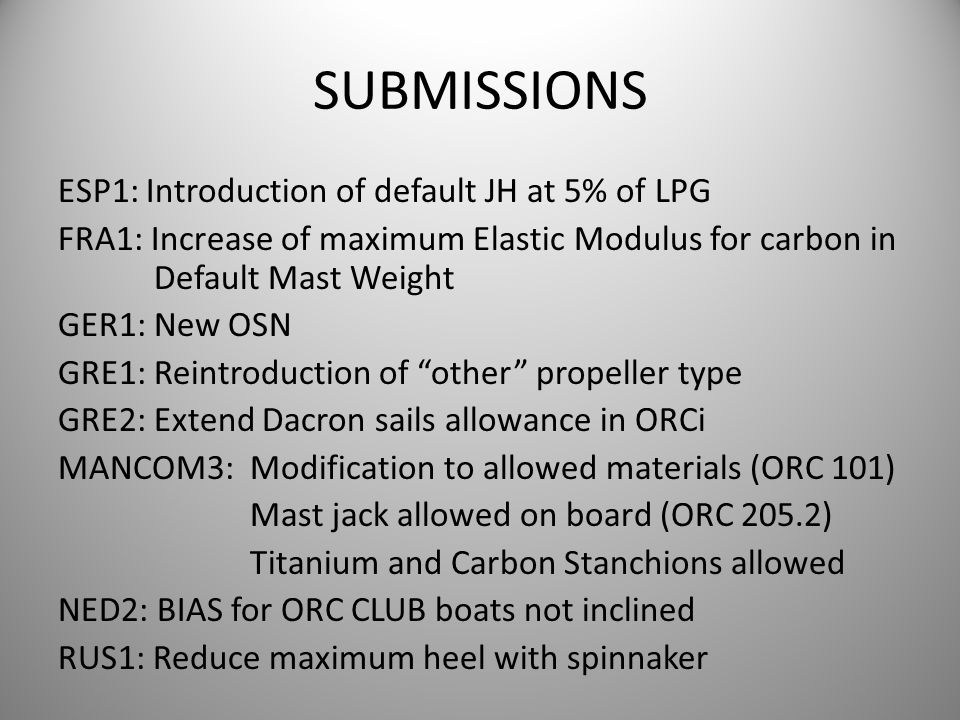 SUBMISSIONS ESP1: Introduction of default JH at 5% of LPG FRA1: Increase of maximum Elastic Modulus for carbon in Default Mast Weight GER1: New OSN GR