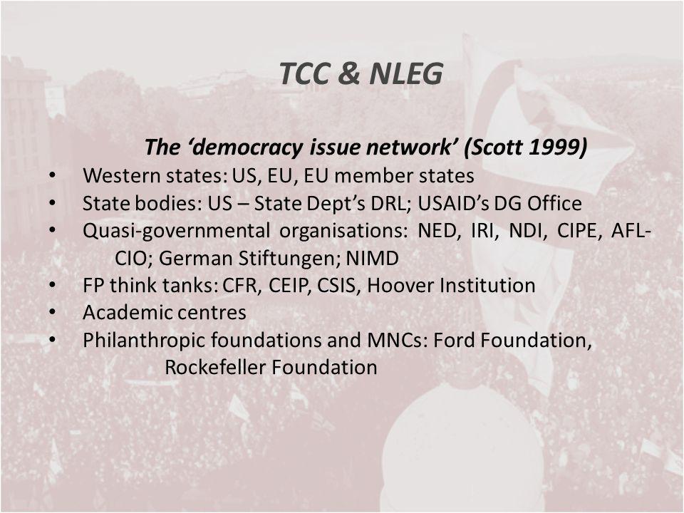 TCC & NLEG The democracy issue network (Scott 1999) Western states: US, EU, EU member states State bodies: US – State Depts DRL; USAIDs DG Office Quas