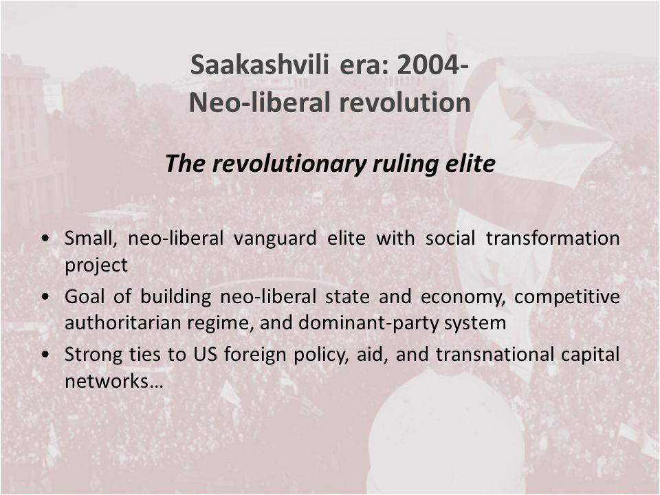 Saakashvili era: 2004- Neo-liberal revolution The revolutionary ruling elite Small, neo-liberal vanguard elite with social transformation project Goal