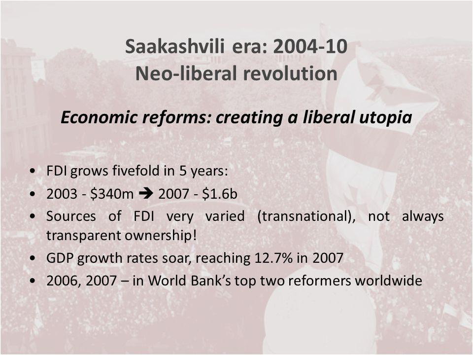 Saakashvili era: 2004-10 Neo-liberal revolution Economic reforms: creating a liberal utopia FDI grows fivefold in 5 years: 2003 - $340m 2007 - $1.6b S