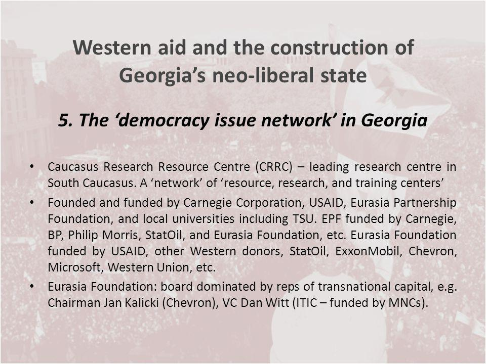Western aid and the construction of Georgias neo-liberal state 5. The democracy issue network in Georgia Caucasus Research Resource Centre (CRRC) – le