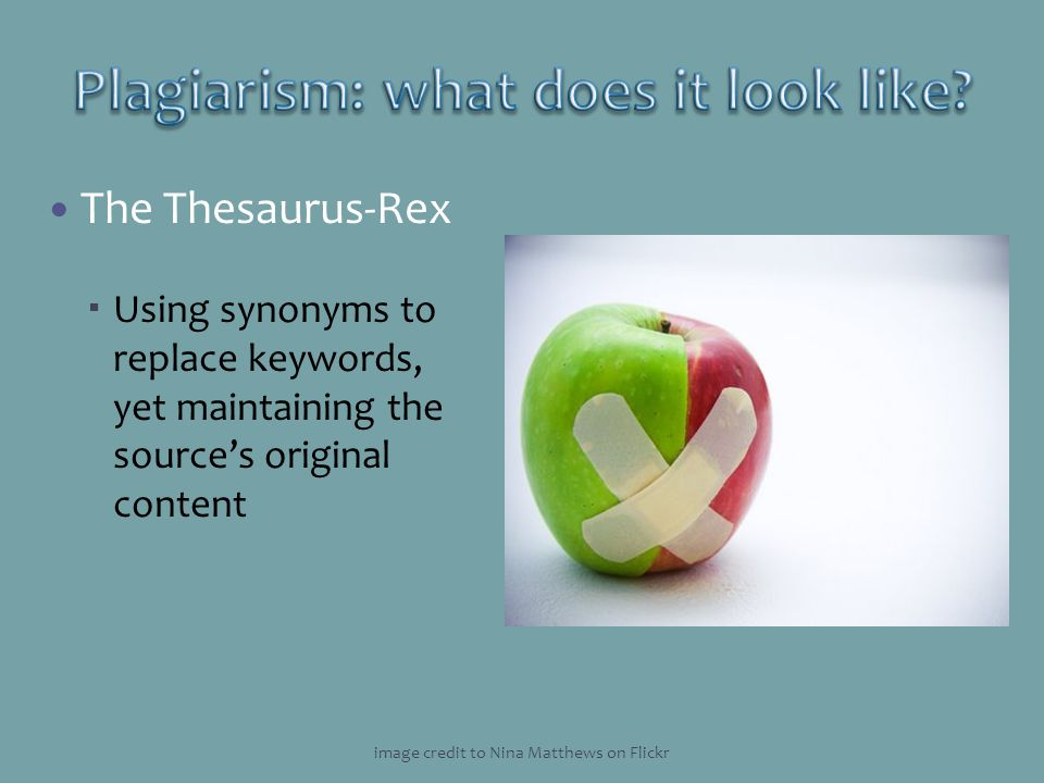 The Thesaurus-Rex Using synonyms to replace keywords, yet maintaining the sources original content image credit to Nina Matthews on Flickr