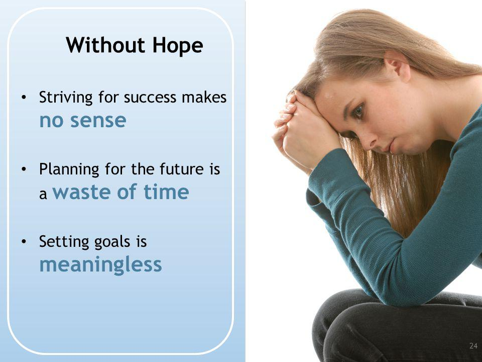 Without Hope Striving for success makes no sense Planning for the future is a waste of time Setting goals is meaningless 24