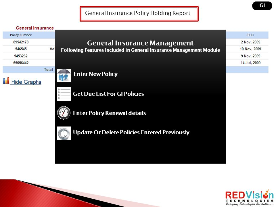 General Insurance Policy Holding Report GI General Insurance Management Following Features Included in General Insurance Management Module Enter New P