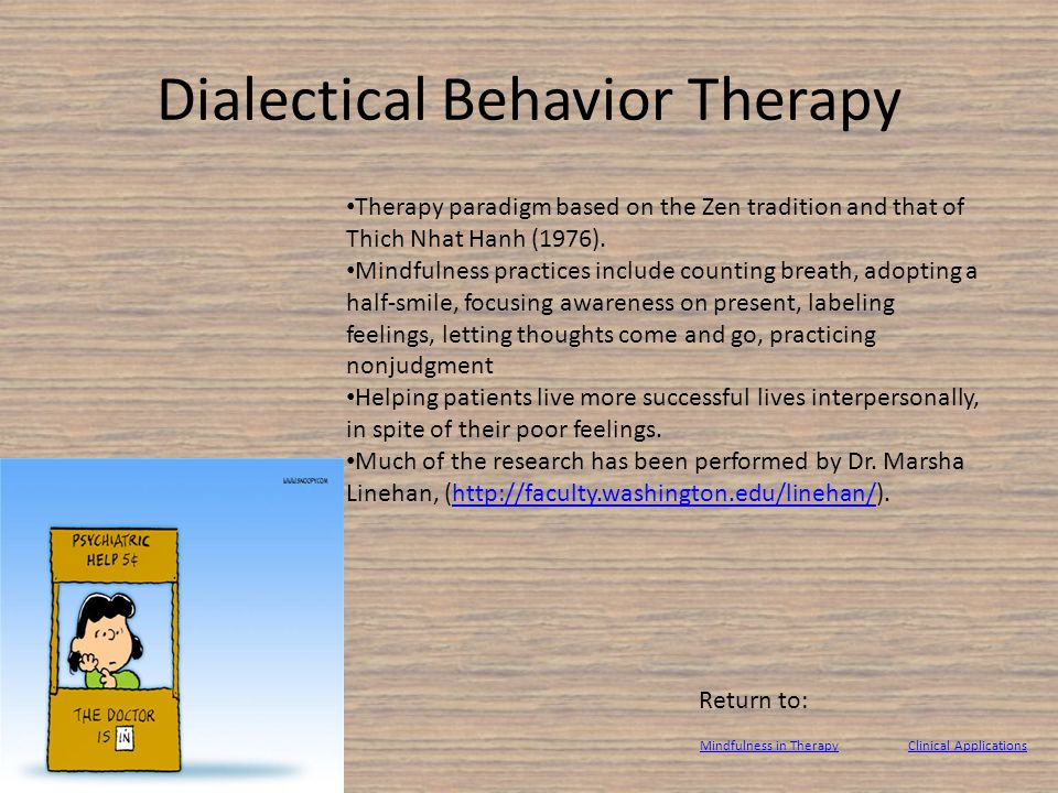 Dialectical Behavior Therapy Therapy paradigm based on the Zen tradition and that of Thich Nhat Hanh (1976).
