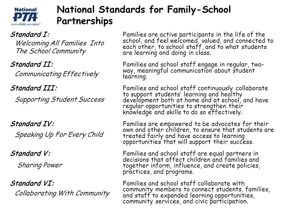 National Standards for Family-School Partnerships Standard I: Families are active participants in the life of the school, and feel welcomed, valued, and connected to each other, to school staff, and to what students are learning and doing in class.