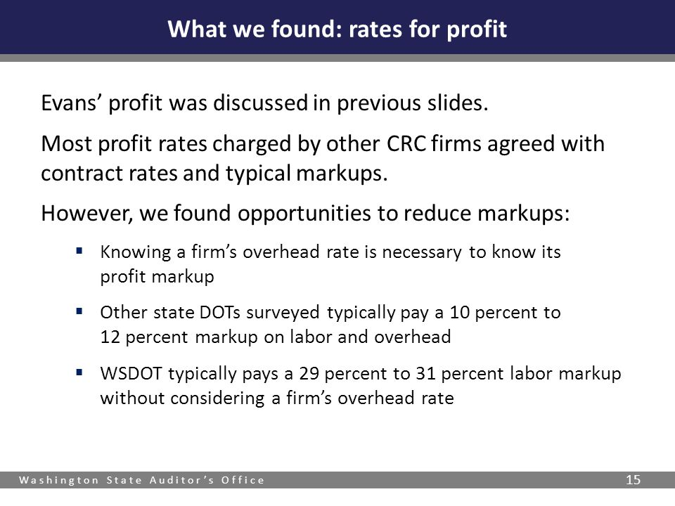 Washington State Auditors Office 15 Evans profit was discussed in previous slides. Most profit rates charged by other CRC firms agreed with contract r