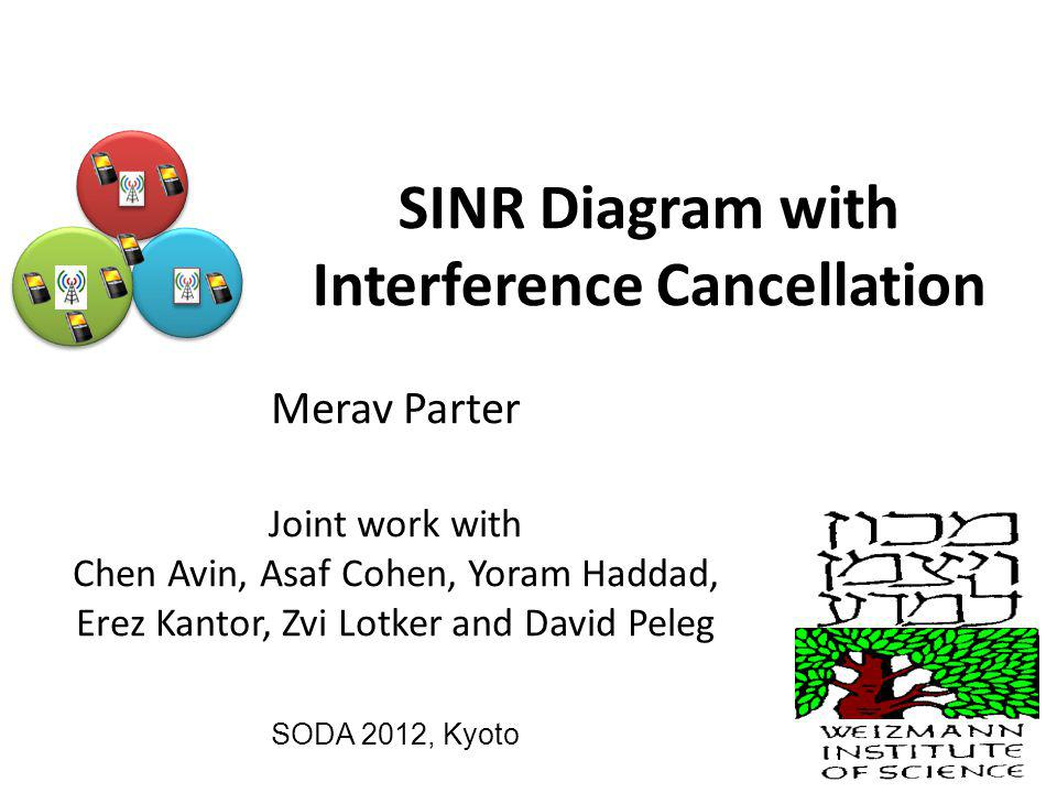 SINR Diagram with Interference Cancellation Merav Parter Joint work with Chen Avin, Asaf Cohen, Yoram Haddad, Erez Kantor, Zvi Lotker and David Peleg