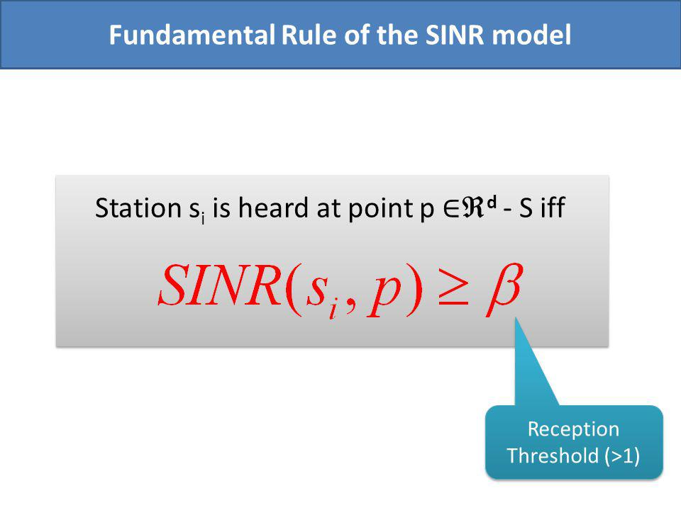 Station s i is heard at point p d - S iff Fundamental Rule of the SINR model Reception Threshold (>1)