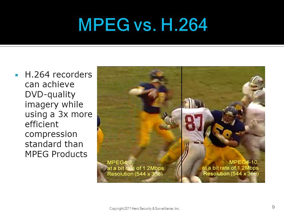 9 H.264 recorders can achieve DVD-quality imagery while using a 3x more efficient compression standard than MPEG Products Copyright 2011 Hero Security