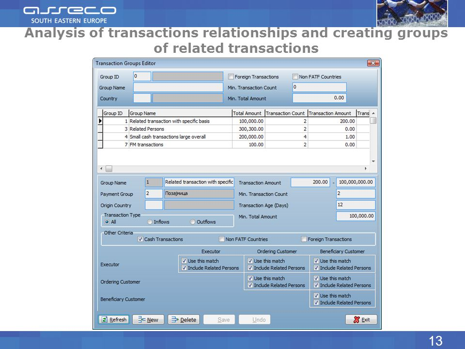 Analysis of transactions relationships and creating groups of related transactions 13