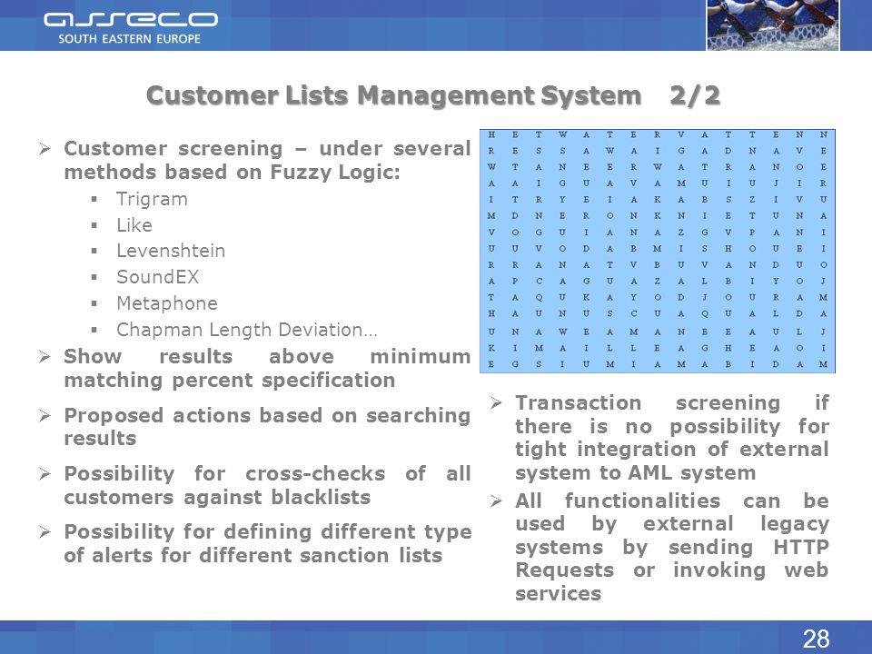 Customer Lists Management System2/2 Customer screening – under several methods based on Fuzzy Logic: Trigram Like Levenshtein SoundEX Metaphone Chapma