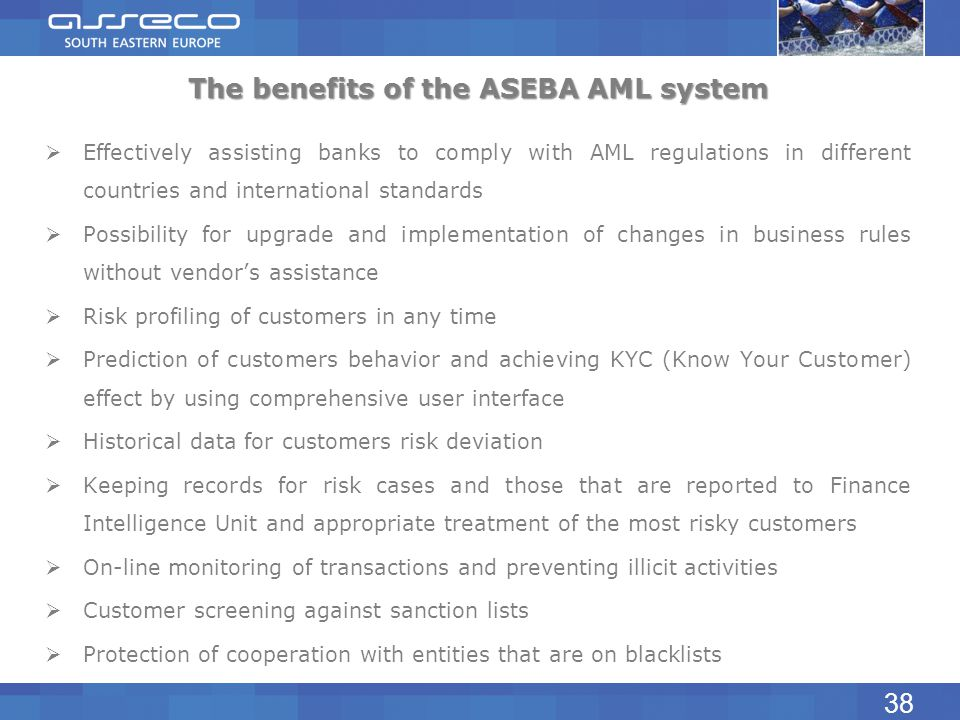 The benefits of the ASEBA AML system Effectively assisting banks to comply with AML regulations in different countries and international standards Pos