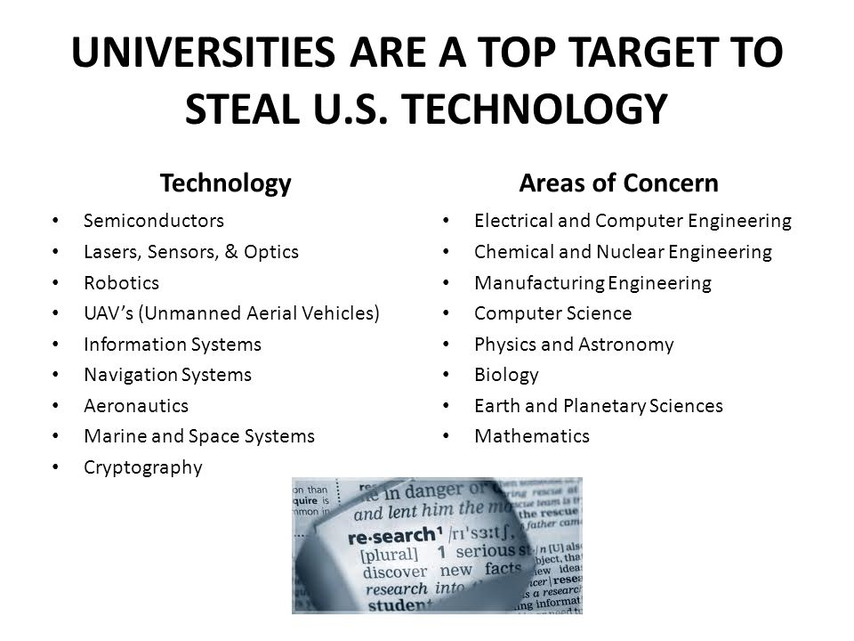 UNIVERSITIES ARE A TOP TARGET TO STEAL U.S.