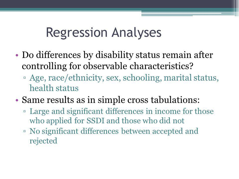 Regression Analyses Do differences by disability status remain after controlling for observable characteristics.