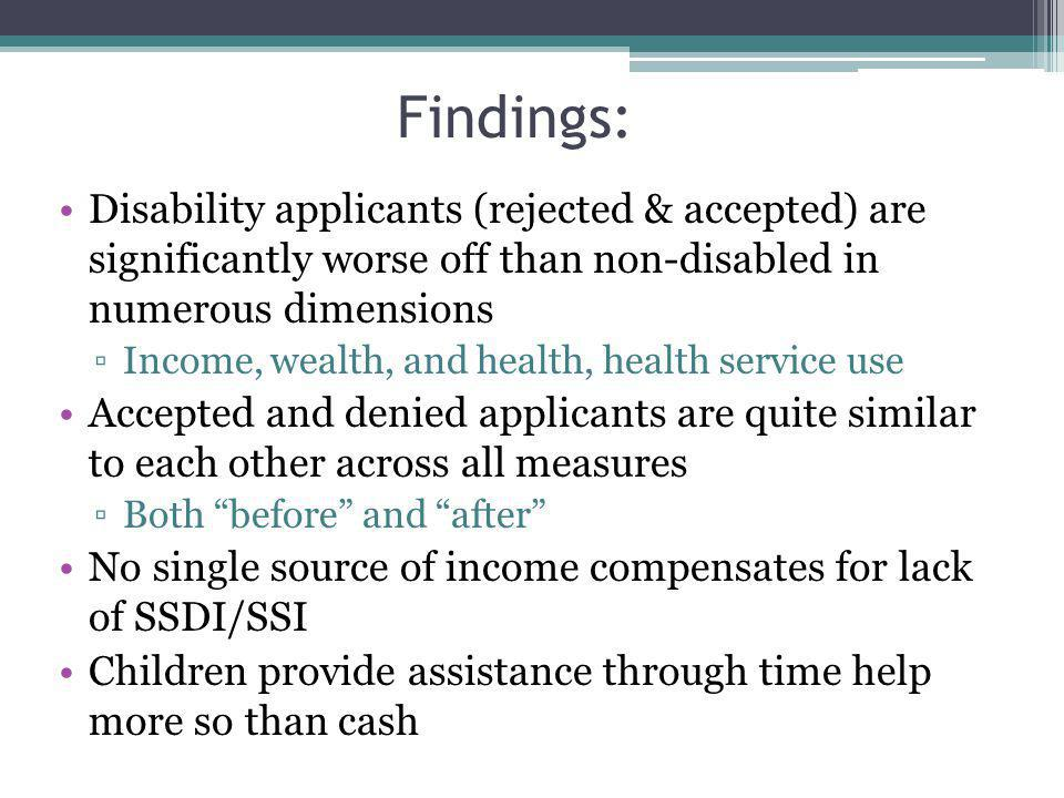 Findings: Disability applicants (rejected & accepted) are significantly worse off than non-disabled in numerous dimensions Income, wealth, and health, health service use Accepted and denied applicants are quite similar to each other across all measures Both before and after No single source of income compensates for lack of SSDI/SSI Children provide assistance through time help more so than cash