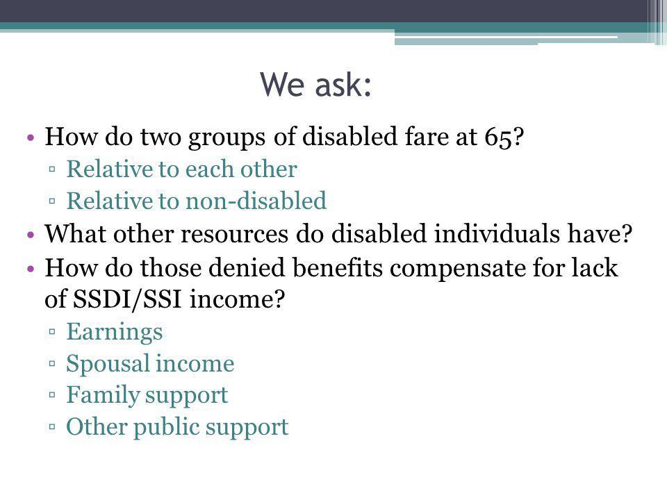 We ask: How do two groups of disabled fare at 65.