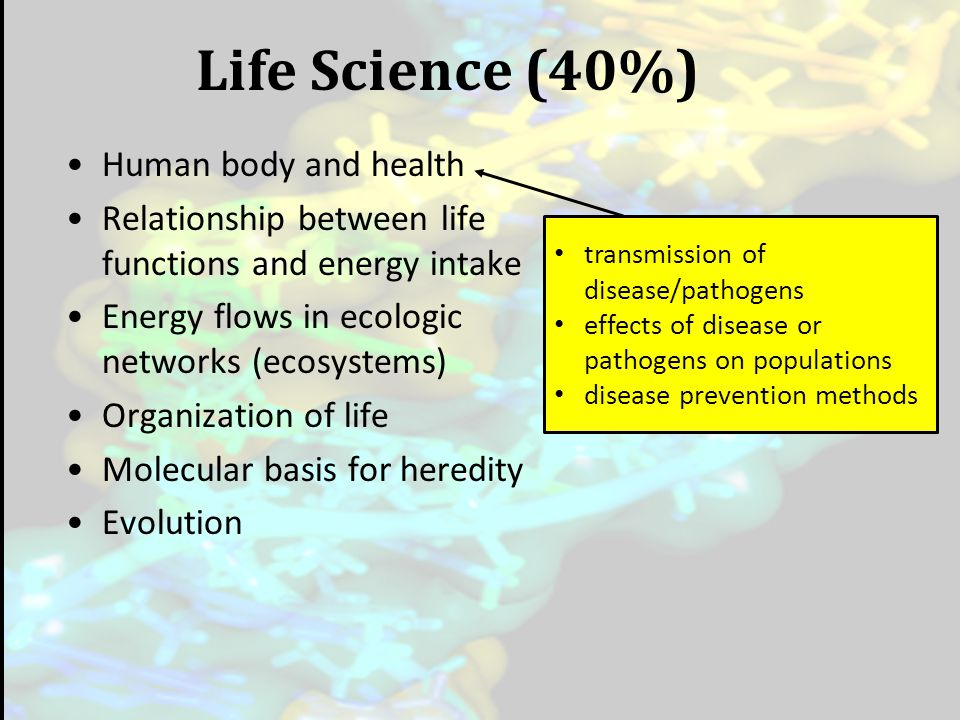 Life Science (40%) Human body and health Relationship between life functions and energy intake Energy flows in ecologic networks (ecosystems) Organiza