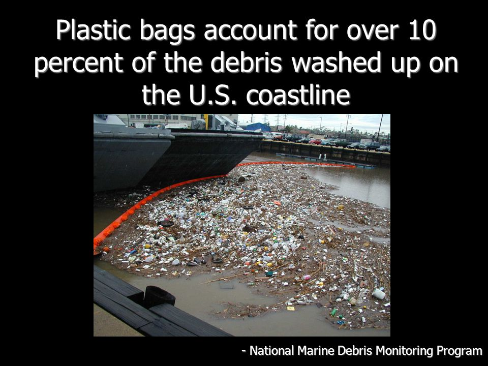 Plastic bags account for over 10 percent of the debris washed up on the U.S.