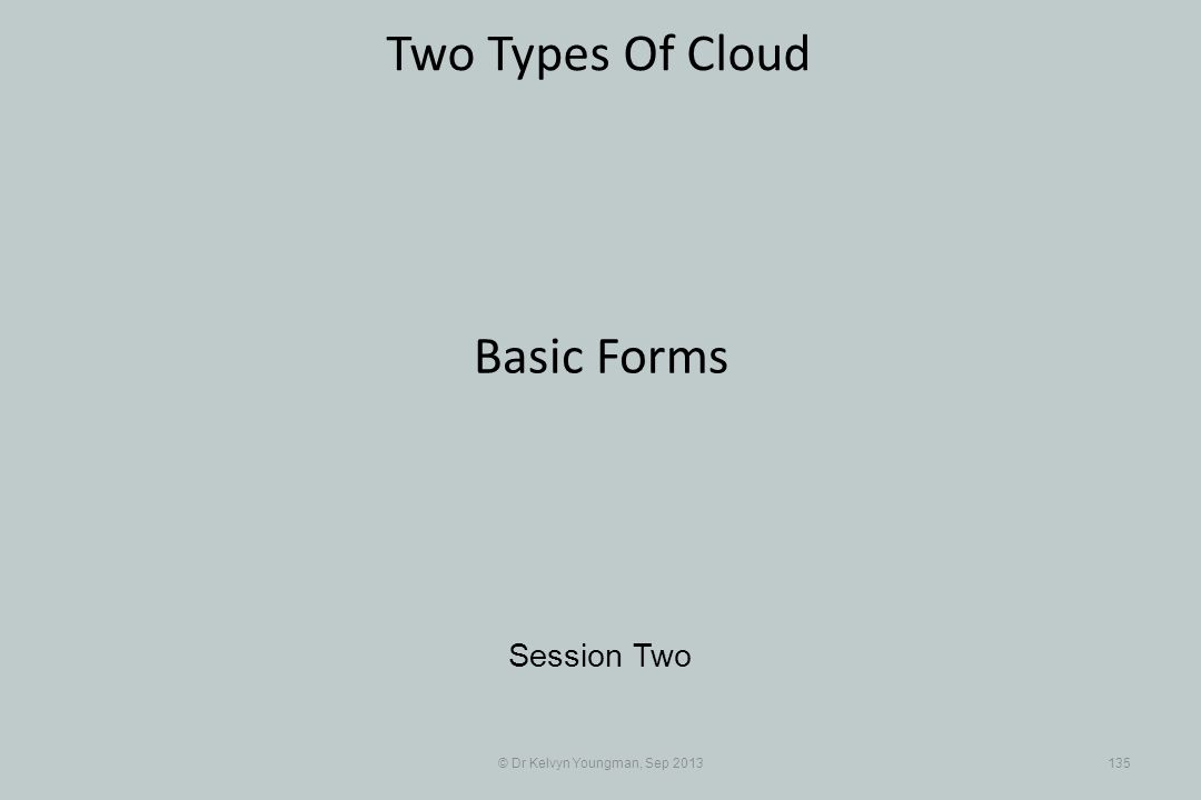 © Dr Kelvyn Youngman, Sep 2013135 Two Types Of Cloud Session Two Basic Forms