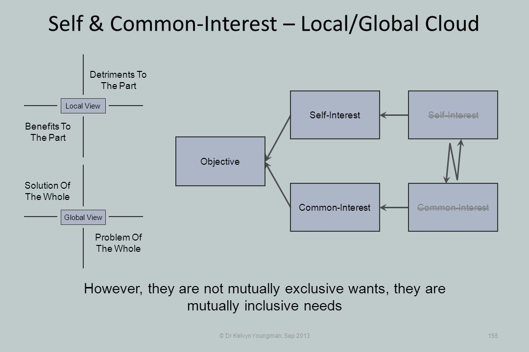 © Dr Kelvyn Youngman, Sep 2013155 Self & Common-Interest – Local/Global Cloud Objective Common-Interest Self-Interest Common-Interest Problem Of The W