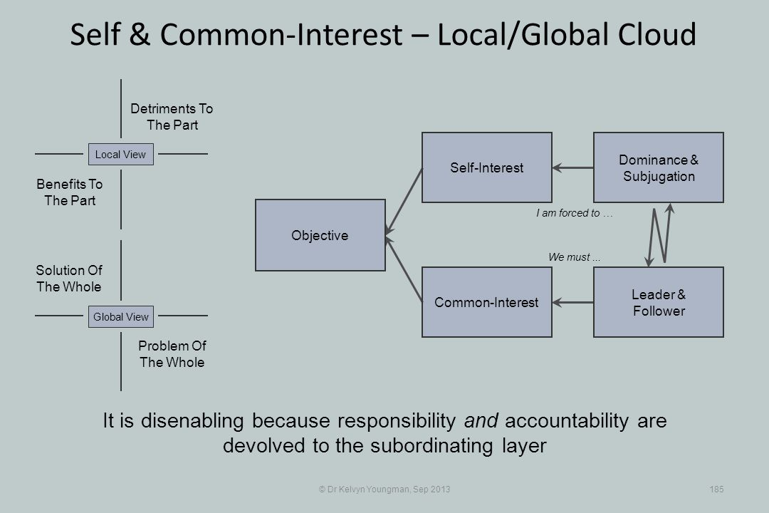 © Dr Kelvyn Youngman, Sep 2013185 Self & Common-Interest – Local/Global Cloud Objective Common-Interest Self-Interest Dominance & Subjugation Leader &