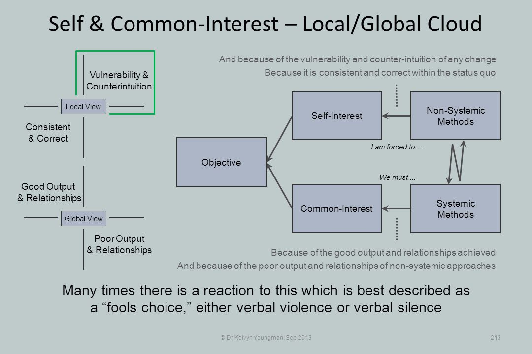 © Dr Kelvyn Youngman, Sep 2013213 Self & Common-Interest – Local/Global Cloud Objective Common-Interest Self-Interest Non-Systemic Methods Systemic Me