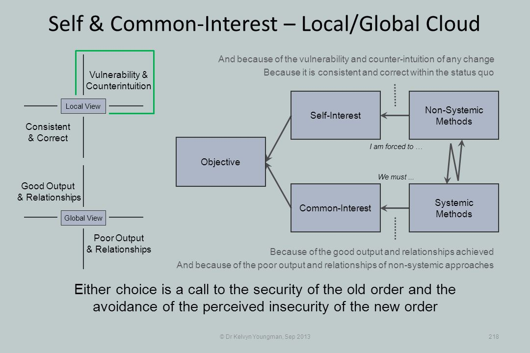 © Dr Kelvyn Youngman, Sep 2013218 Self & Common-Interest – Local/Global Cloud Objective Common-Interest Self-Interest Non-Systemic Methods Systemic Me
