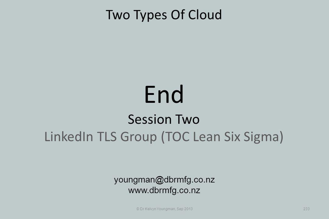 © Dr Kelvyn Youngman, Sep 2013233 Two Types Of Cloud youngman@dbrmfg.co.nz www.dbrmfg.co.nz End Session Two LinkedIn TLS Group (TOC Lean Six Sigma)