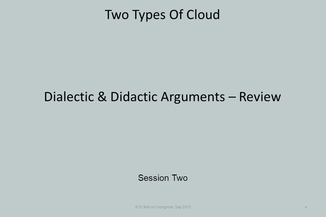 © Dr Kelvyn Youngman, Sep 20134 Two Types Of Cloud Session Two Dialectic & Didactic Arguments – Review