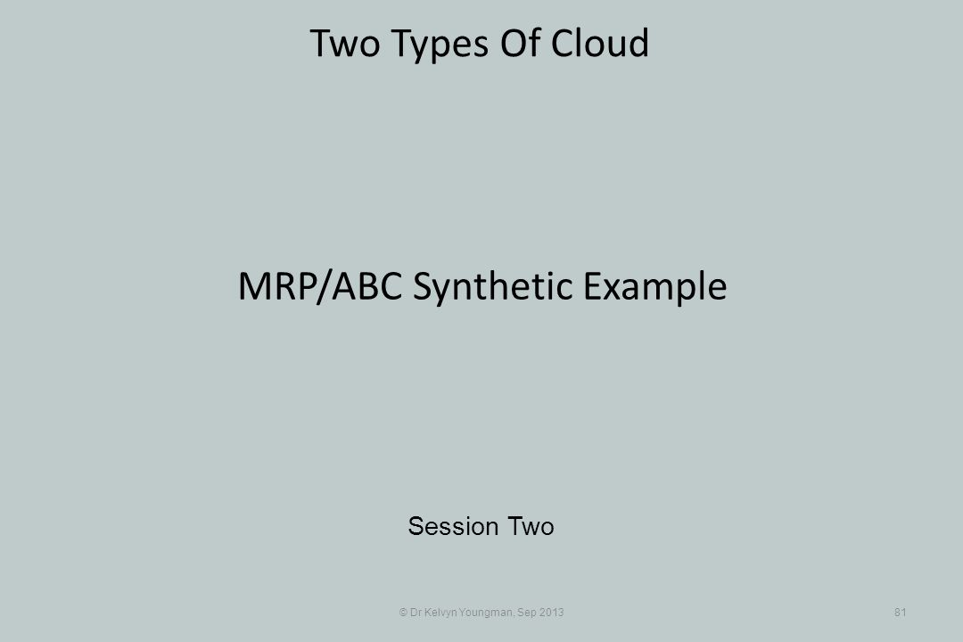 © Dr Kelvyn Youngman, Sep 201381 Two Types Of Cloud Session Two MRP/ABC Synthetic Example
