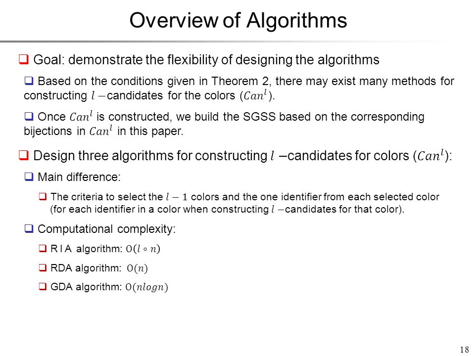 18 Overview of Algorithms