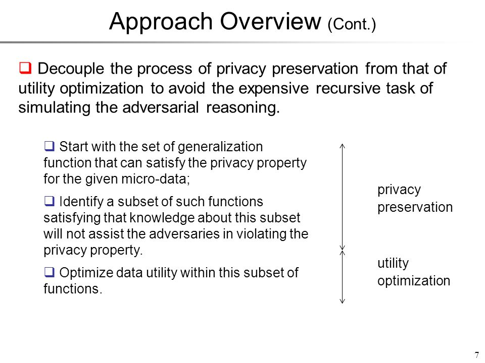 Approach Overview (Cont. ) 7 Decouple the process of privacy preservation from that of utility optimization to avoid the expensive recursive task of s
