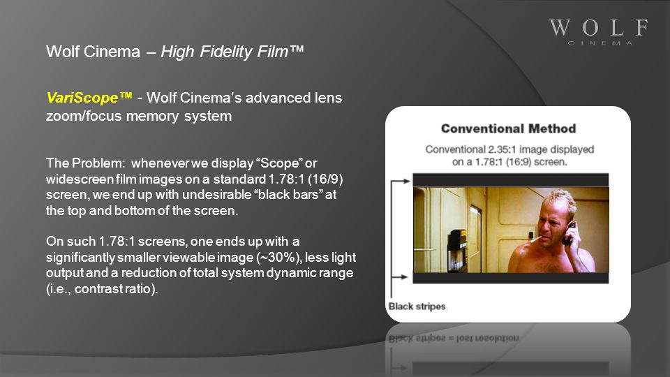 Wolf Cinema – High Fidelity Film VariScope - Wolf Cinemas advanced lens zoom/focus memory system The Problem: whenever we display Scope or widescreen